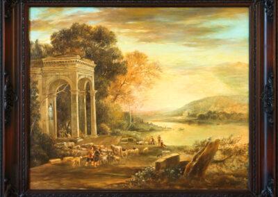 """Claude Lorrain (Claude Gellée) """"Landschaft mit einem Tempel von Bacchus"""""""