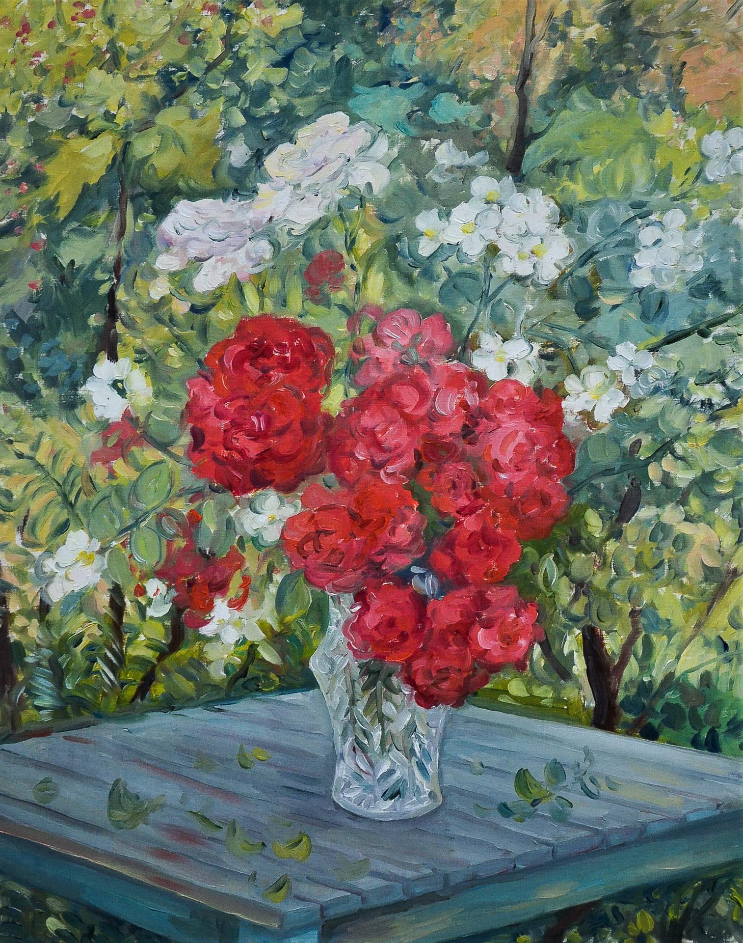 Anna Gestrich – Malerei | Stillleben mit Rosen im Garten