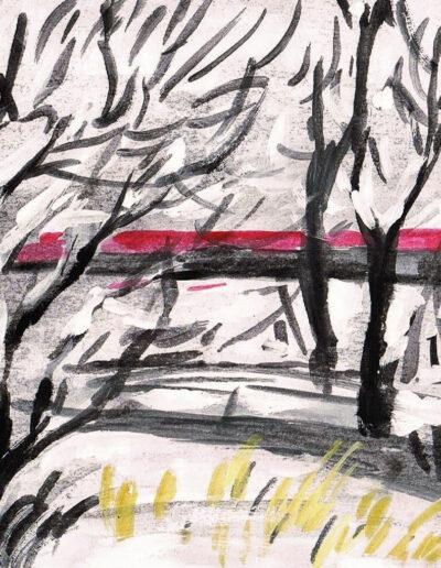 """""""Stadtwald Januar"""" – Anna Gestrich, Illustrationen für Gedichte von Jürgen Raßbach"""