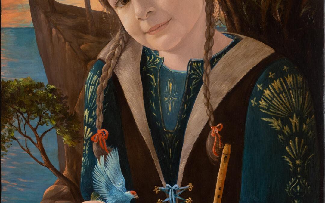 Mädchenportrait mit Vogel