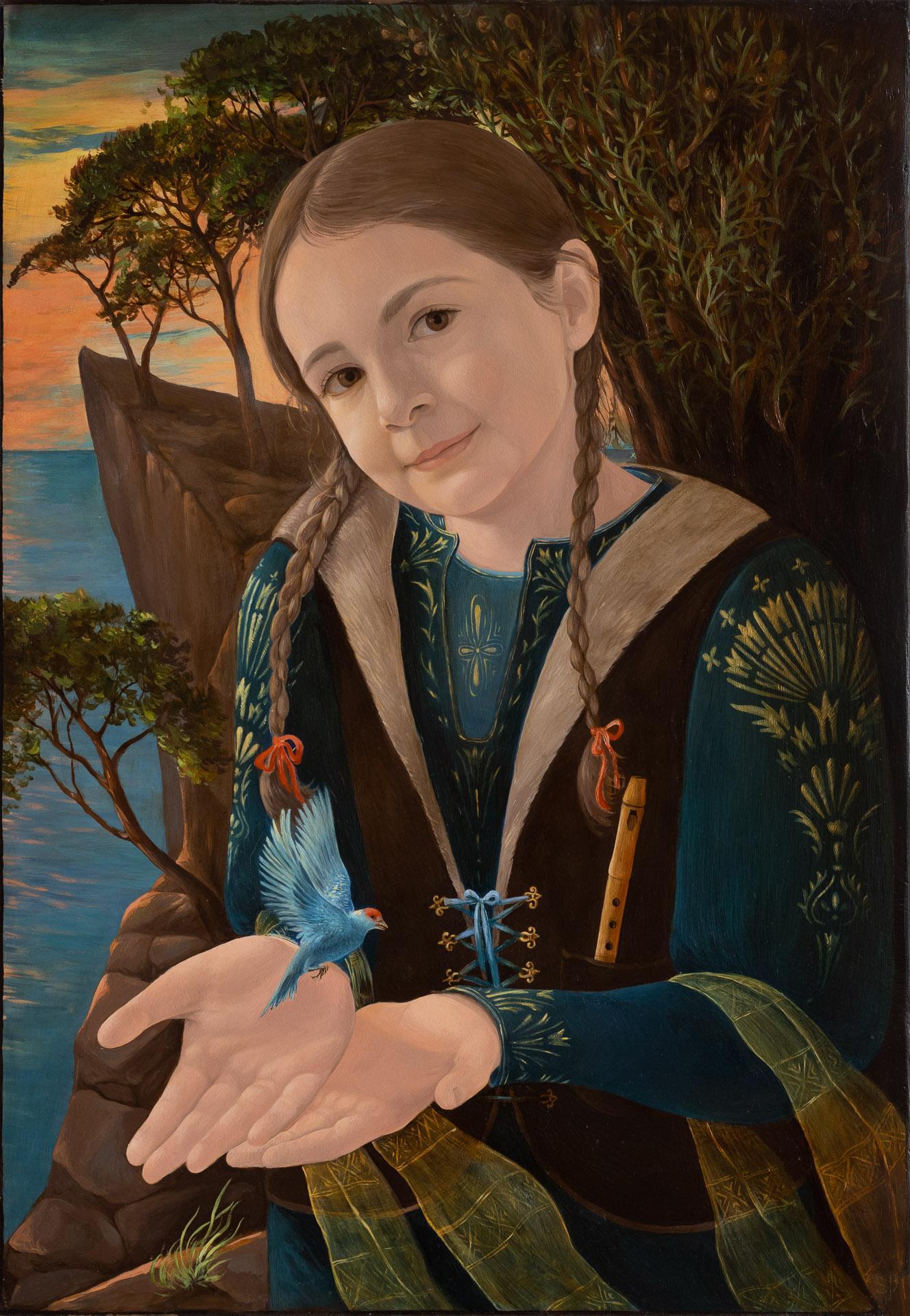 Anna Gestrich – Malerei | Mädchenportrait mit Vogel